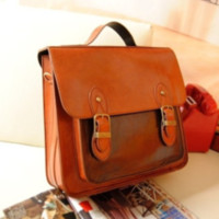 Retro Waxed PU Leather Backpack for School from chiccasesandhomeproducts