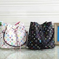 LV color letter printing women's versatile bucket bag messenger bag