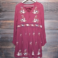 Gauzy Embroidered Boho Dress in Burgundy