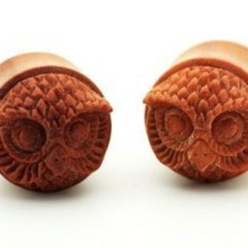 11/16 18mm Sawo Wood Hand Carved Owl Ear Gauge Plug Organic Double Flare Tribal (Sold As Pair)