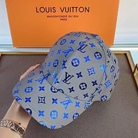 LV Louis Vuitton summer new style 3M reflective cap cap female baseball cap female sunshade hat Internet sensation Blue