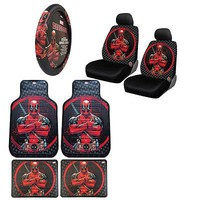 Licensed Official New Deadpool Car Truck Front Rear Floor Mats Seat Covers & Steering Wheel Cover