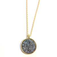LONG Moon Faux Druzy Pendant NecklACE
