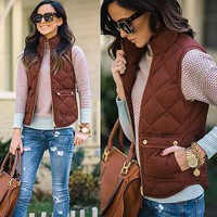 Women Winter Slim Fleece Warm Parka Vest Coat Sleeveless Jacket Vest Waistcoat S M L XL