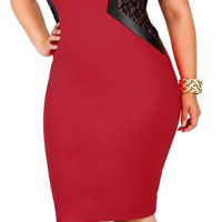 Plus Size Color Block Lace Spliced Bodycon Midi Dress