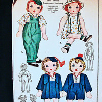 "McCall Pattern Vintage 1940s Twins Dolls Janie and Johnny Cloth Doll Pattern with transfers. 11 1/2""."