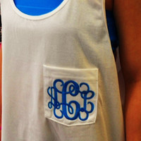 Monogram Tank Pocket Oversize Font Shown INTERLOCKING