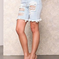 Mid length Women's distressed Torn Jean Shorts