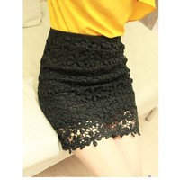 Retro Flower High Waisted Lace Short Skirts