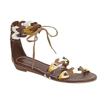 TORO SCALLOPED SANDALS - BROWN