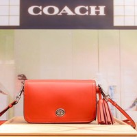 COACH WOMEN'S LEATHER TASSEL INCLINED SHOULDER BAG