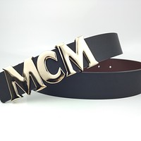 MCM Simple Retro Letter Logo Smooth Buckle Belt