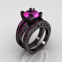 1.35ct Pink Round cut solitaire sterling silver wedding ring with free ship1