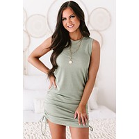 Impossible Decisions Side Ruched Mini Dress (Sage)