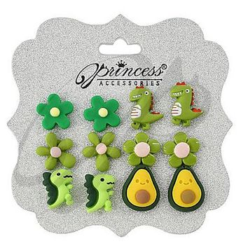 Crazy Fun, Flowers, Dinosaur and Avocado Earrings! Card of 6