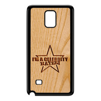 Carved on Wood Effect_Celebrity Hater Black Hard Plastic Case for Galaxy Note 4 by Chargrilled