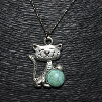 Cat with Stone Pendant Necklace (Silver with Blue or Bronze with Red)