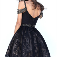Black A-line Beaded Straps Knee Length Lace Homecoming Dress
