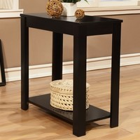 Black finish wood rectangular chair side end table with lower shelf