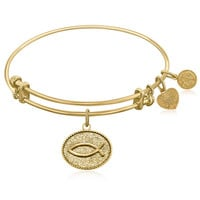Expandable Bangle in Yellow Tone Brass with Christian Fish Ichthys Symbol