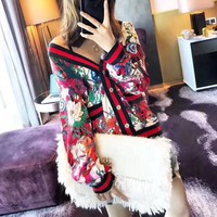"""Gucci"" Women Retro Fashion Multicolor Stripe Flower Print V-Neck Long Sleeve Cardigan Coat Tops"