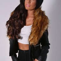 Hadleigh Black Leatherette and Fur Jacket | Pink Boutique