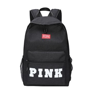 Victoria Pink New fashion letter print canvas leather women backpack bag Black