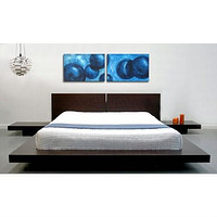 King Modern Japanese Style Platform Bed with Headboard in Espresso