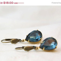 ON SALE Montana Blue teardrop rhinestone earrings. Vintage style glass jewel earrings. Old Hollywood Jewelry