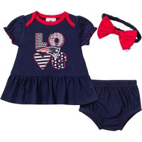 New England Patriots 3-Piece Dress, Panty and Headband Set - Baby Girl, Size: