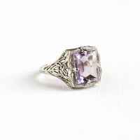 Vintage 14k White Gold Filigree Amethyst Ring - Antique Size 8 Art Deco 1920s February Birthstone Fine Faceted Purple Gemstone Jewelry