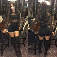 2017 Sexy Women Bandage Jumpsuit Mesh Lace O Neck Long Sleeve Catsuit Club Bodycon Short Rompers Bodysuit Semi Sheer Outfits