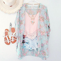 New Arrivals 2015 Women Blouses Plus Sizes Floral  Cardigan Women Tops Chiffon Batwing Blouse Kimono Cardigan Chemise Femme