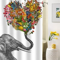 The Happy Elephant shower curtain special custom shower curtains that will make your bathroom adorable