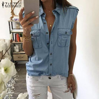 Summer Women Fashion Vintage Buttons Pockets Blouses Sexy Sleeveless Jeans Denim Blue Shirts Female Casual Blusas Tops