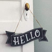 Customizable Wooden Banner in Capitals - Personalized Hand Lettered Sign, Custom Chalkboard Sign