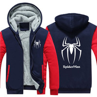 New Winter Warm spiderman spider man Hoodies Marvel Hooded Coat Thick Zipper men casual cardigan Jacket Sweatshirt