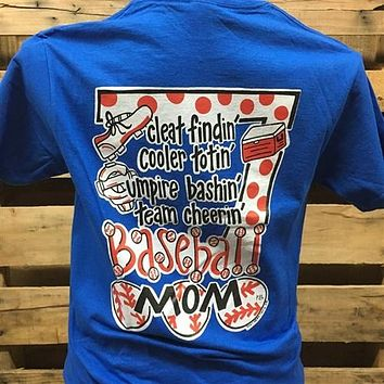 Southern Chics Baseball Mom 2 Blue Girlie Bright T Shirt