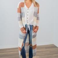 Long Striped Cardigan- Multi