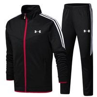 Under Armour 2018 new autumn sportswear long-sleeved jacket trousers two-piece Black