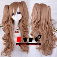 Sweet Lolita light blonde brown Double Ponytails On Clip curly cosplay wig W28