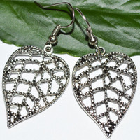 Antique silver leaf earrings filigree earrings cboho chic women affordable gift