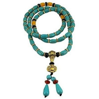 Tibetan 108 Prayer Beads Wrap Bracelet Necklace Turquoise Beads
