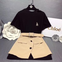 """Chloé"" Women Simple Fashion Letter Embroidery Bare Shoulder Short Sleeve T-shirt Dress Buttons Skirt Set Two-Piece"
