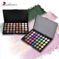 40 Color Portable Matte Eye Makeup Eyeshadow Pallete Glitter Powder Primer  Luminous Eye Shadow Earth Shadow Brush Set