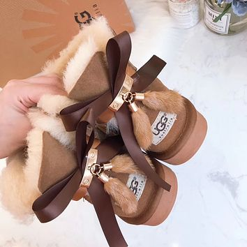 UGG fashionable ladies mid-tube snow boots bow knot velvet pendant UGG casual ladies wool boots hot products