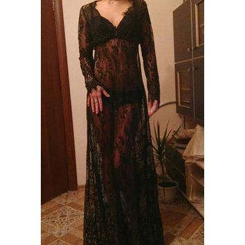 Fashion Women Asymmetrical Patchwork Dress Hollow Out Long Sleeve V Neck Lace Maxi Dresses