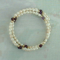 Freshwater Pearl Memory Coil Bracelet Amethyst Beads Wedding Jewelry