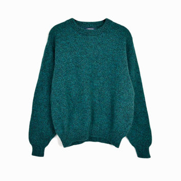 Vintage Forest Green Wool Sweater by Lands' End