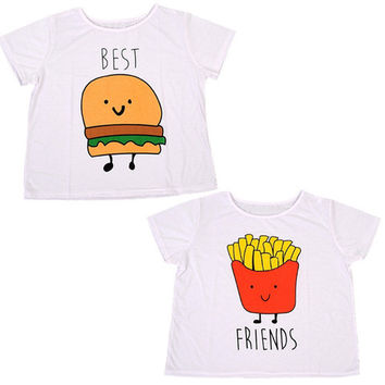 Best Friends Hamburger and Fries Loose Tees_ LAST ONE